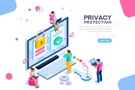 Illustrazione per Infographic, banner with hero protect data and confidentiality. Safety and confidential data protection, concept with character saving code and check access. Flat isometric vector illustration. - Immagini Royalty Free