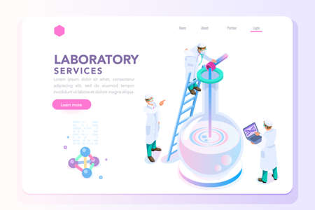 Illustration pour Health and biochemistry laboratory of nanotechnology. Molecule helix of dna, genome or gene evolution. Vector beauty science genome clone sequence concept with characters. Flat isometric illustration. - image libre de droit