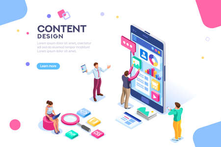 Illustration for Software infographics, code place, idea for designer content. UI design concept with character and text. Programming seo phone vector illustration. Flat isometric concept with characters. Landing page - Royalty Free Image
