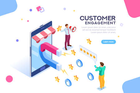 Ilustración de Shopping process of customer. Infographic of Seo on a smartphone. Purchase on website campaign a message to engagement for a like or a star. Review of search content. Isometric flat vector - Imagen libre de derechos