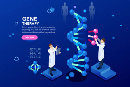 Ilustración de Health and biochemistry laboratory of nanotechnology. Molecule helix of dna, genome or gene evolution. Vector blue science genome clone sequence concept with characters. Flat isometric illustration. - Imagen libre de derechos