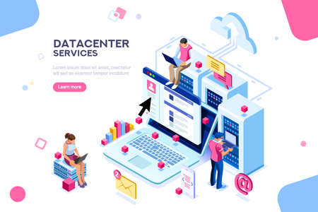 Illustration pour Internet datacenter connection, administrator of web hosting concept. Character and text for services. Tech repair center hardware software database for safe server. Flat isometric vector illustration - image libre de droit