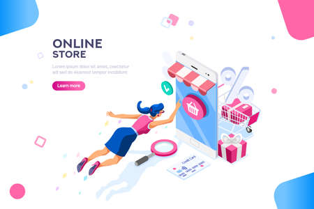 Ilustración de Concept of young buyer online using smartphone items. Consumer and fashion e-commerce, consumerism or sale concept. Characters, text for store. Flat isometric infographic images vector illustration - Imagen libre de derechos