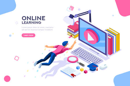 Ilustración de Desk of class seminar or courses. Online tutorial infographic for college research. Teaching cap on app for distance e-learning graduation. Concept with characters, flat isometric vector illustration. - Imagen libre de derechos