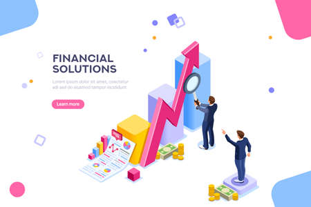 Illustration pour Financial research concept. Audit management of economic strategy. Currency development, economics corporate plan for sales. Statistic for organization or investment. Flat isometric characters concept - image libre de droit