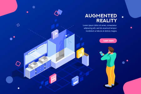 Illustrazione per Augmented reality visualization on device. Character on a concept of furniture application to build interior catalog for shop. Futuristic app interaction. Vr concept or ar. Flat isometric illustration - Immagini Royalty Free