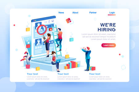 Illustration pour Social presentation for employment. Infographic for recruiting. Web recruit resources, choice, research or fill form for selection. Application for employee hiring. flat isometric vector illustration. - image libre de droit