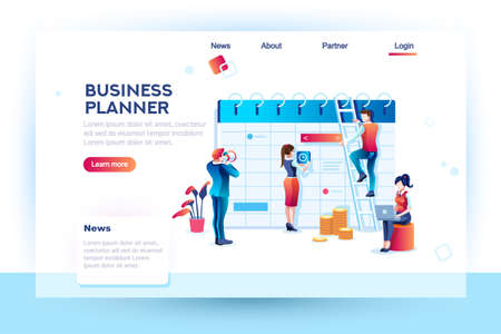 Ilustración de Time management. Hours planning and saving. Infographic, desktop control of calendar job. Target project schedule on desk concept with character and text. Flat isometric images, vector illustration. - Imagen libre de derechos
