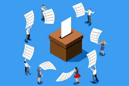 Illustration pour Hand putting label. Election poll about vote. Ballot, democracy decision for government. Campaign for choice. Politics republican symbol on ballot-box. Flat isometric infographic vector illustration - image libre de droit