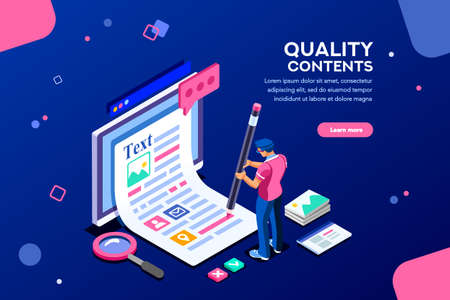 Ilustración de Blog edit, post infographic with pencil. Research promotion for seo content or marketing. Create education concept with characters and text. Flat isometric images, vector illustration. - Imagen libre de derechos