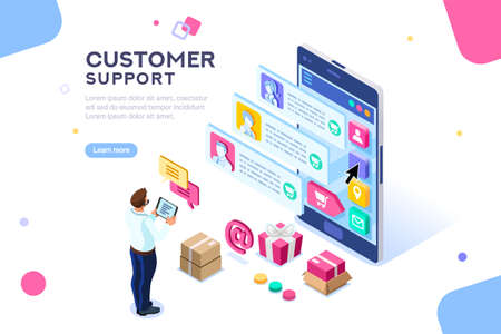 Illustration pour Commercial support for customer transaction on website. Consumer at website, buyer at electronic dashboard. Commerce or marketing concept with characters flat isometric images vector illustration. - image libre de droit