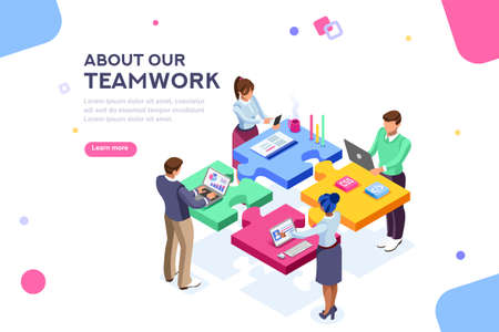 Illustrazione per Startup employees. Goal thinking, infographic of puzzle. Cooperation construction by agency group to create a team. Concept for webdesign. White isolated concept with characters flat isometric Vector - Immagini Royalty Free