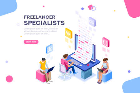 Illustration pour Infographic of software develop a project wireframe. Engineering desktop workstation for office specialist. Graphic for freelancer, concept with characters and text. Flat isometric vector illustration - image libre de droit