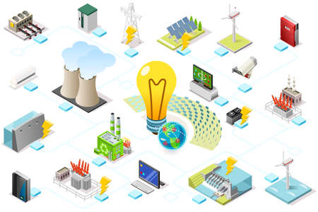 Ilustración de Power grid infographic, generating of power consumption. Energy element on line transmission. Station with high voltage socket. Flat isometric flowchart concept with characters. Vector illustration. - Imagen libre de derechos