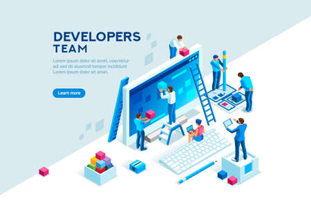 Ilustración de Engineer team at project development, template for developer. Coding develop, programmer at computer or workstation for business. Concept with character, flat isometric vector illustration - Imagen libre de derechos