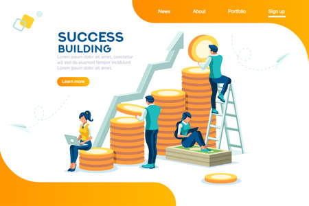 Ilustración de Alternative progress, building ad, investment management for company. Joint markets and move up deal. Bank career growth for success. Flat ambition concept with character isometric vector illustration - Imagen libre de derechos