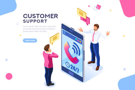 Ilustración de Product of e-shop. Shop available assistance, accessible always. Clock illustration for site or center. Isometric images of transaction customer support concept with characters. Vector illustration. - Imagen libre de derechos