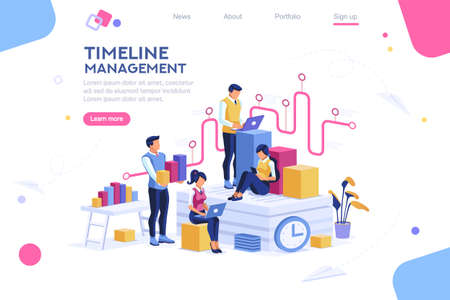 Ilustración de Document management, team thinking, brainstorming analytics information about company. Clock always at office. Around infographic flying presentation history timeline concept. Flat isometric character - Imagen libre de derechos