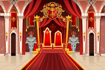 Illustration for Door of the castle and windows, ancient rich medieval artwork with royal armor of knight guard. Image with throne of the king on the palace. Flags of fantasy fairy queen. Vector illustration. - Royalty Free Image