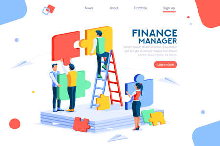 Illustration pour Concept, team metaphor, goal. Connected puzzle elements. Collaboration, unity as jigsaw. Partnership cooperation, teamwork symbol. Vector illustration design in flat isometric style. - image libre de droit