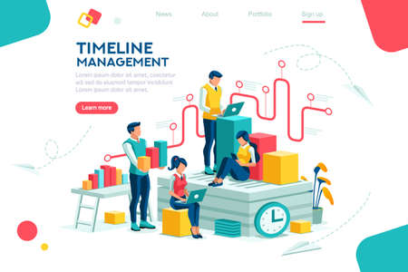 Illustration pour Document management, team thinking, brainstorming analytics information about company. Clock always at office. Around infographic flying presentation history timeline concept. Flat isometric character - image libre de droit