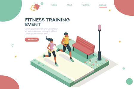 Illustration pour Marathon race event. Fitness sneakers. Training on the road. Run sprint, health dynamics people sprint. Jogging fast group. Images, web banner, flat isometric illustration isolated on white background - image libre de droit