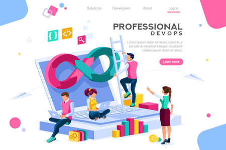 Illustrazione per Programmer, user administrator, professional engine. Software support to build banner infographic. administration images flat technician concept, DevOps images. Isometric illustration. - Immagini Royalty Free