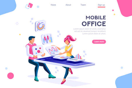Ilustración de Data devices, graphs solution. User reading display. Ideas brainstorming, characters situations set. Interacting people concept. 3d images isometric vector illustrations. - Imagen libre de derechos