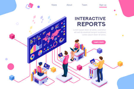 Ilustración de Collection, database graphs. Desktop chart analyzing, statistics visualization concept. Interacting people. 3d isometric vector illustration. - Imagen libre de derechos