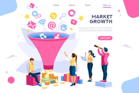 Ilustración de E-business buyer, market imagination growth focus filter. Digital generation. Elements for web banner, infographics, hero images. Flat isometric vector illustration isolated on white background - Imagen libre de derechos