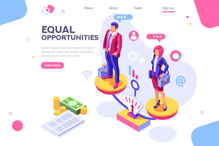 Ilustración de Work cheerful for both, business equality concept for infographics, hero images. Flat isometric vector illustration. Web banner between white background, between empty space - Imagen libre de derechos