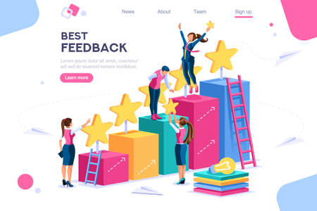 Illustration pour Arrows score, win and grow. Star choose, best feedback comment. 5 stars rating, people and text, characters concept for web banner, infographics, hero images. Flat isometric vector illustration - image libre de droit