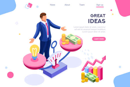 Illustration pour Money idea compare layout. Hold conceptual bulb on gold balance concept, can use for web banner, infographics, hero images. Flat isometric vector illustrations isolated on white background - image libre de droit