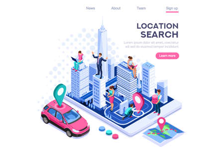 Illustration pour City location, cartography path marker system. Map navigator, smartphone navigation concept for web banner, infographics, hero images. Flat isometric vector illustration isolated on white background - image libre de droit