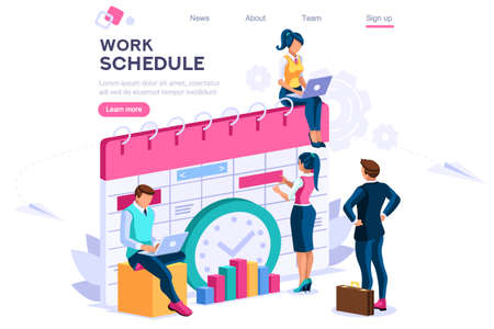 Ilustración de Week schedule, daily plan, work organizer. People and text, characters concept for web banner, infographics, hero images. Flat isometric vector illustration isolated on white background - Imagen libre de derechos