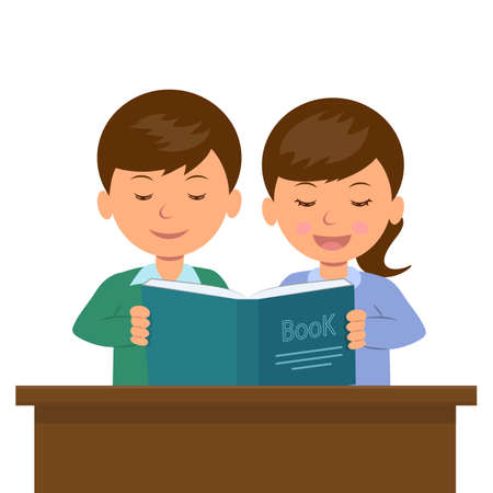 Illustration pour Kids boy and girl sitting at the desk reading a book. Sister reads the book aloud to his younger brother. Students at the lesson. - image libre de droit