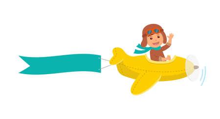 Illustration pour Cute boy pilot flies on a yellow plane in the sky. Air adventure. Isolated cartoon illustration. - image libre de droit