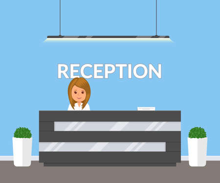 Illustration pour Reception in modern office. Business office, clinic or hotel interior in blue colors with flowers and reception desk. Interior lobby inside building. Vector illustration in flat style. - image libre de droit