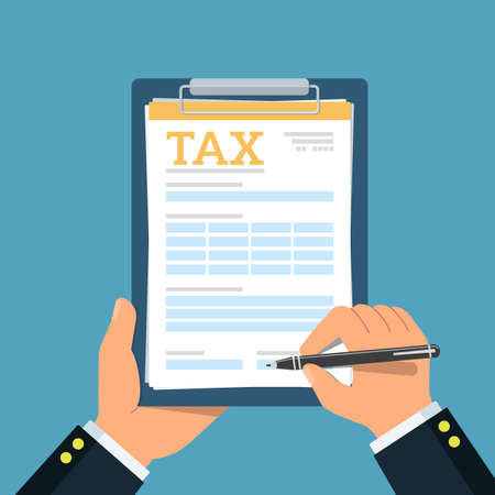 Photo pour Close-up of person hands with tax clipboard and pen. Business concept of filling tax form. - image libre de droit