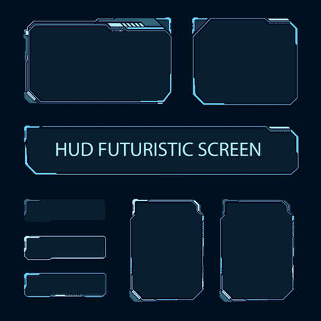 Illustration pour Futuristic touch screen of user interface. Modern HUD control panel. High tech screen for video game. Sci-fi concept design. Vector illustration. - image libre de droit