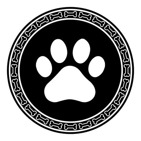 Ilustración de Paw Print with Bone dog - Imagen libre de derechos