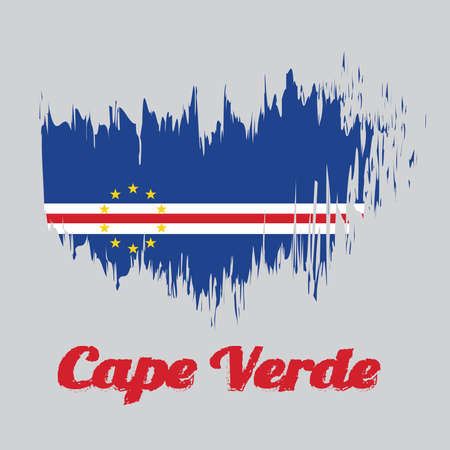 Ilustración de Brush style color flag of Cape Verde, blue white and red color with the circle of ten star. with name text Cape Verde. - Imagen libre de derechos
