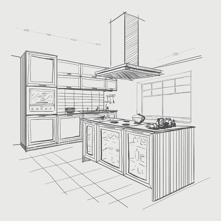 Illustration pour Interior sketch of modern kitchen with island. - image libre de droit