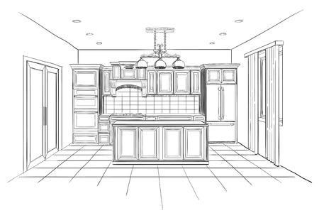 Illustration pour Interior sketch of modern kitchen with island. - image libre de droit
