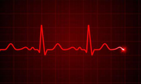 Ilustración de Heart cardiogram pulse chart on electrocardiogram monitor vector medical ECG or EKG red heartbeat line wave background. Heart pulse normal rate meter medical background. - Imagen libre de derechos