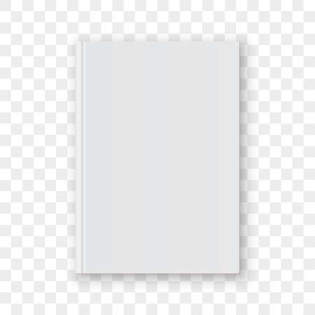 Illustration pour Book cover blank white vertical design template. Empty vector book cover model mock up isolated on transparent background. - image libre de droit