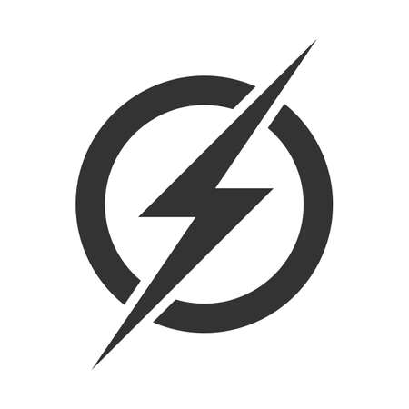 Ilustración de Power lightning logo icon. Vector electric fast thunder bolt symbol isolated on transparent background - Imagen libre de derechos