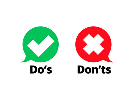 Illustration pour Do and Dont check tick mark and red cross icons isolated on transparent background. Vector Do's and Don'ts checklist or choice option symbols in circle chat frames - image libre de droit