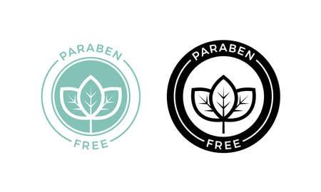 Ilustración de Paraben free label. Vector logo skincare cosmetic or skin and health safe product with no paraben package design - Imagen libre de derechos