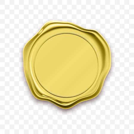Illustration pour Gold stamp wax seal approval vector. Quality garantee label - image libre de droit